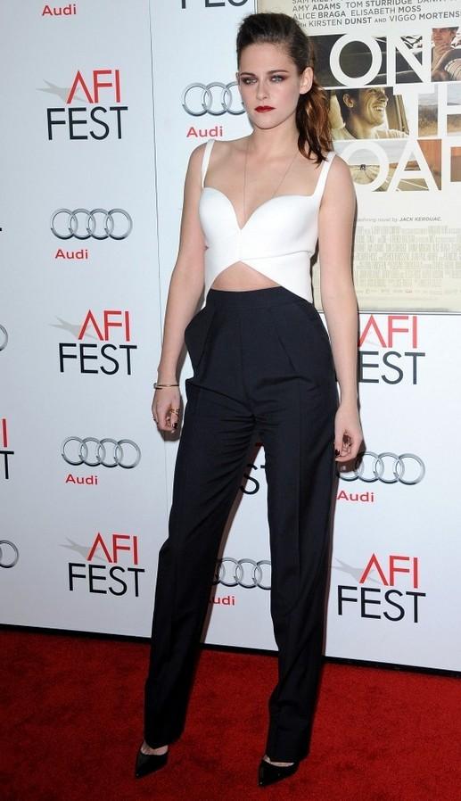 Kristen Stewart White Criss Cross Crop Top by Balenciaga