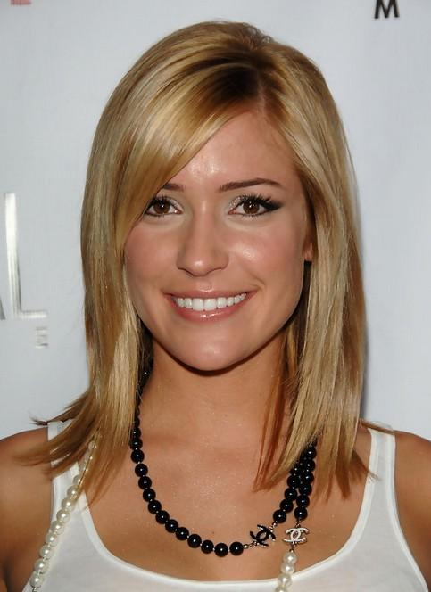 Kristin Cavallari Medium Hairstyle: Shinny Straight Hair