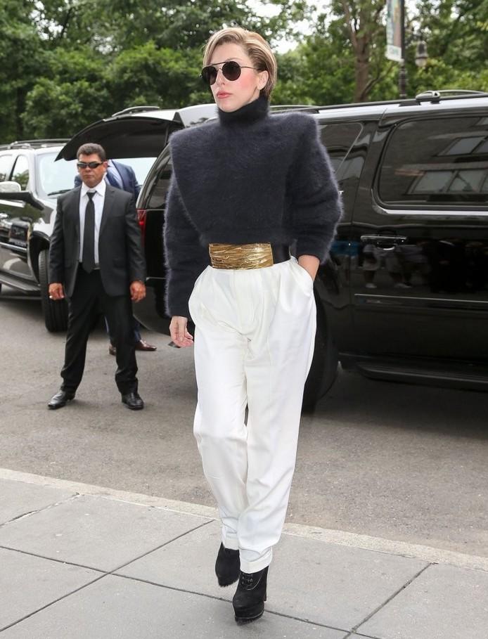 Lady Gaga Fuzzy Structured Turtleneck by Balmain