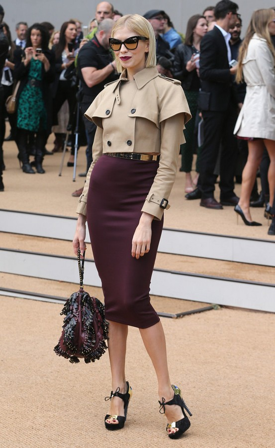Leigh Lezark Beige Cropped Jacket and a Plum Pencil Skirt