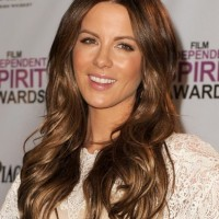 Long Wavy Highlighted Ombre Center Parted Hairstyle