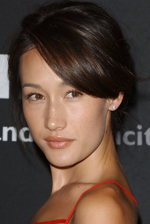 Maggie q hairstyles sexy pinned updo pretty designs