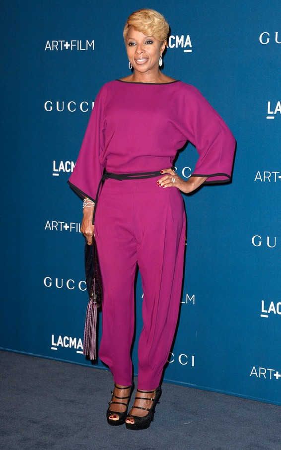 Mary J. Blige Chic Raspberry Jumpsuit by Gucci