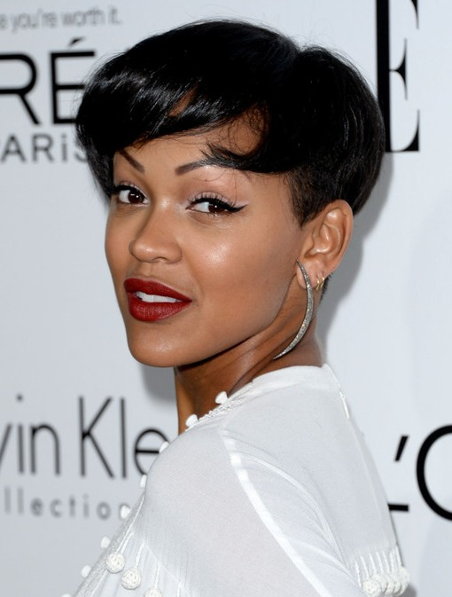 Meagan Good's Short Hairstyles: Black Pixie Crop with Soft Side-Swept Bangs