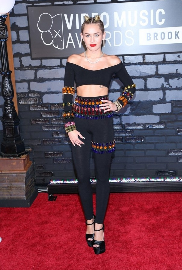 Miley Cyrus Long-sleeve Jeweled Crop Top by Dolce Gabbana
