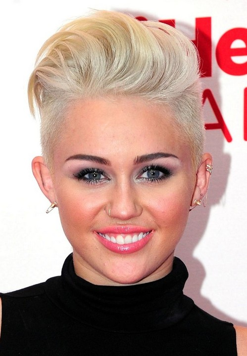 Miley Cyrus' Short Hairstyles: Blonde Mohawk