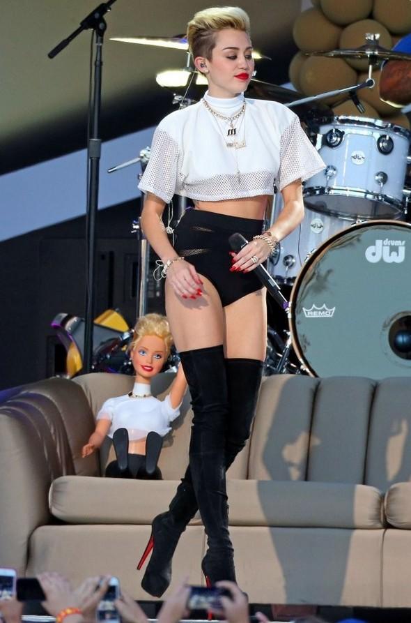 Miley Cyrus White Mesh Crop Top