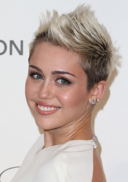 Miley Cyrus's Short Hairstyles: Short Faux Hawk Hairstyle for 2014