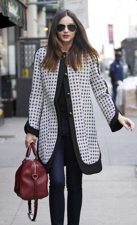 Miranda Kerr Black and White Print Swing Jacket