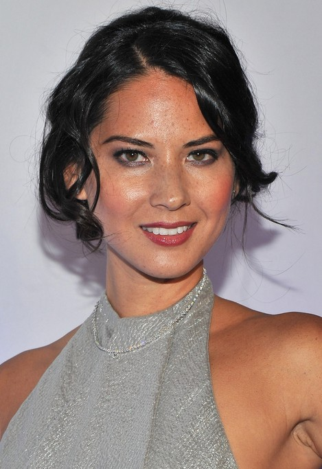 Olivia Munn Hairstyle: Lovely Updo with Curly Bangs