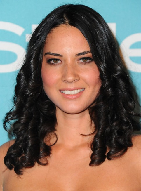 Olivia Munn Long Hairstyle: Big Curls with Central Parting
