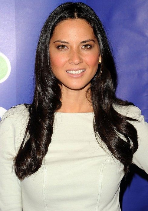 Olivia Munn Long Hairstyle: Sleek Hair with Big Wavy Curls