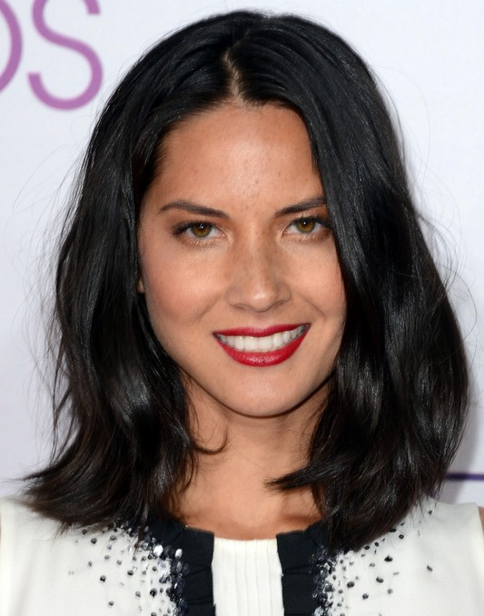 Olivia Munn Medium Hairstyle: Black Wavy Haircut
