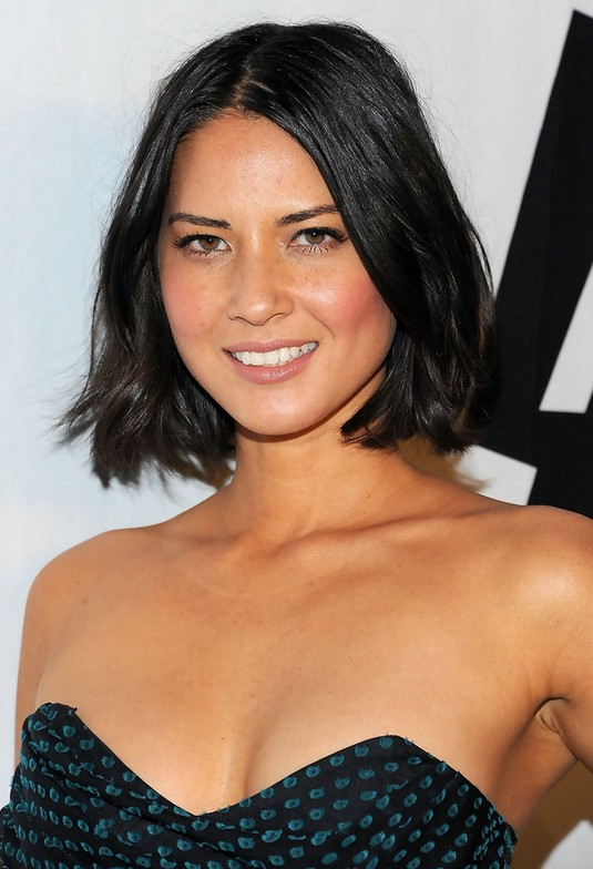 Olivia Munn Mid-Length Hairstyle: Black Bob for Off-The-Shoulder Dresses