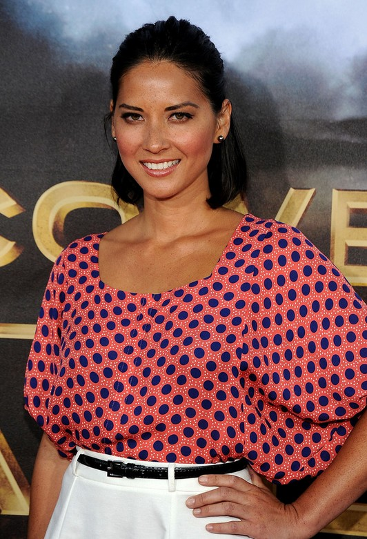 Olivia Munn Mid-length Hairstyle: Bob with Half Up Half Down for the Polka Tops