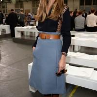 Olivia Palermo: Retro Blue A-line Knee Length Skirt