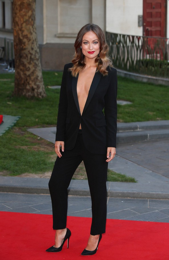 Olivia Wilde Cleavage-baring black Pantsuit by Gucci