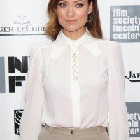 Olivia Wilde Long-sleeve White Michael Kors Blouse