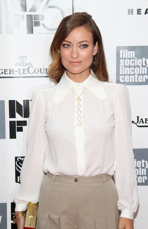 Olivia Wilde Long-sleeve White Michael Kors Blouse