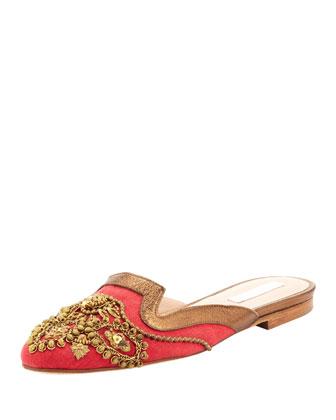 Oscar de la Renta Spanish Sequin-Embellished Mule, Red&Gold