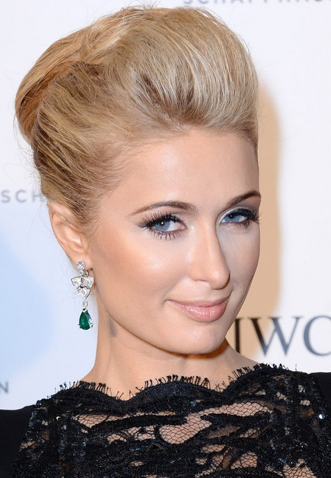Paris Hilton Hairstyles 2014 Faddish Bobby Pinned Updo
