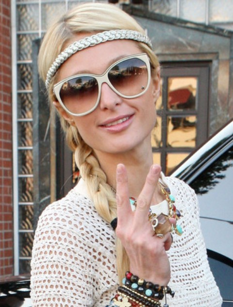 Paris Hilton Hairstyles: Long Braided Hairstyle with Headband