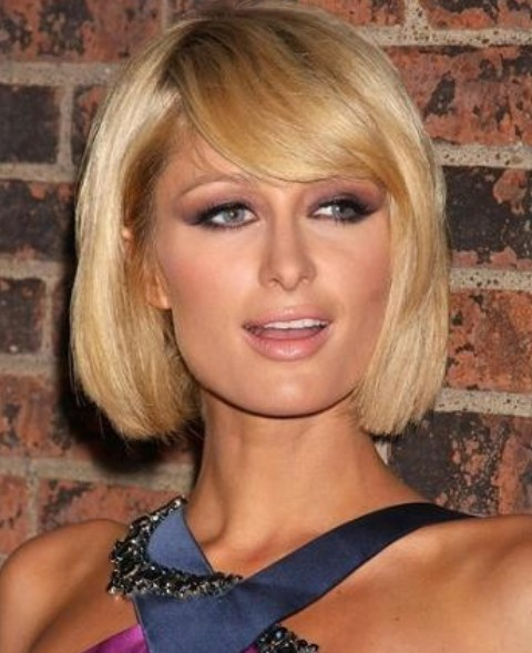 Paris Hilton Hairstyles: Short Bob with Side-swept Bangs