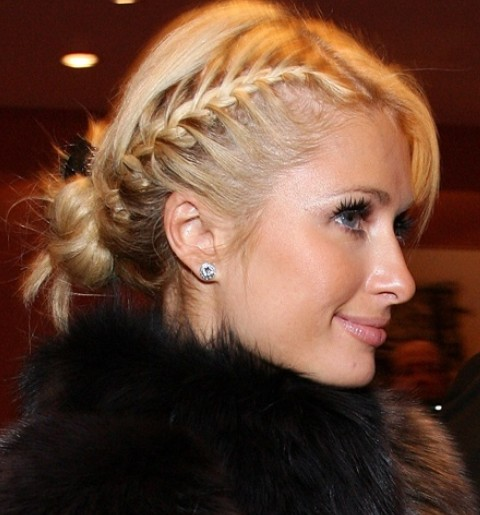 Paris Hilton Hairstyles: Side-parted Braided Updo