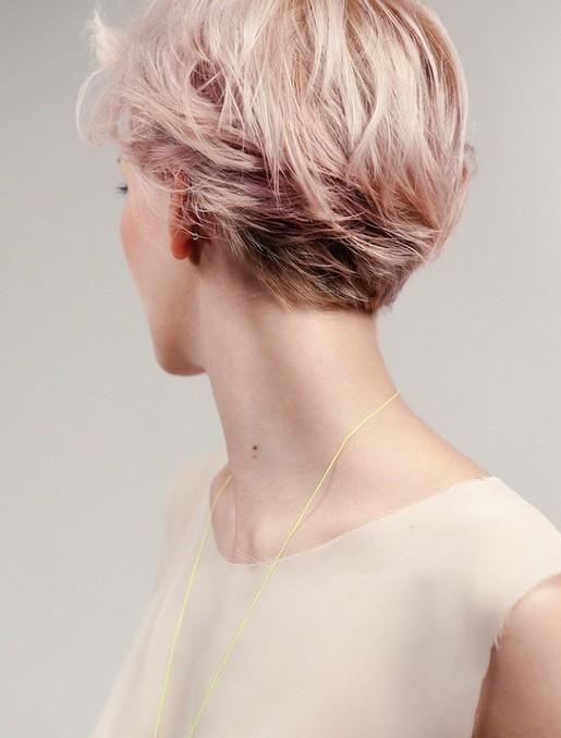 Pink Short Hairstyle 2014 - Back View of Layered Short Haircut