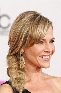 Ponytail Updo for Long Blond Wavy Hair with Side Bangs