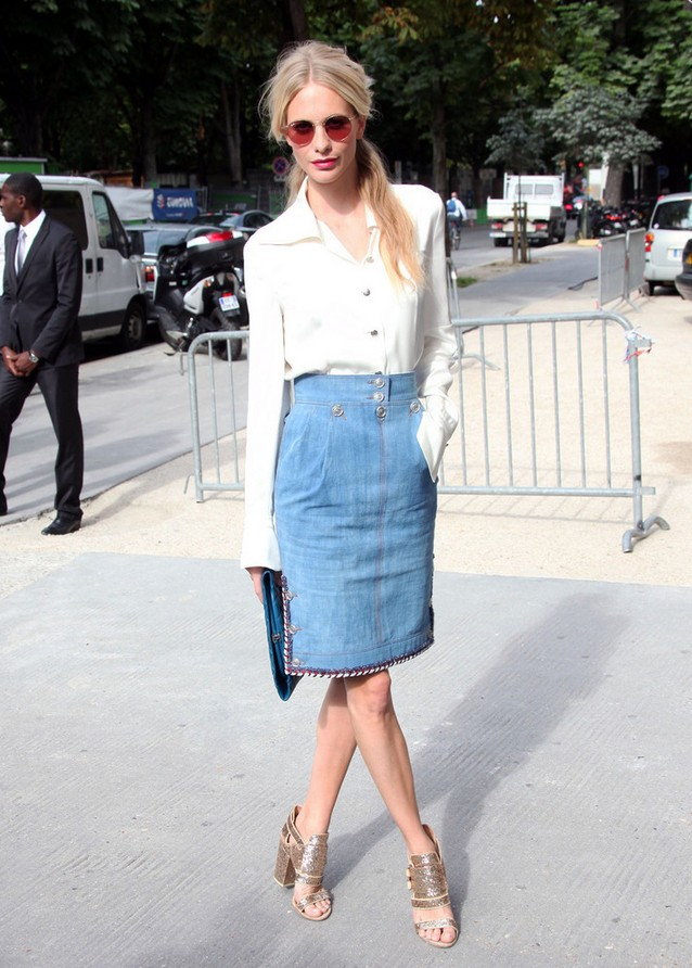 Poppy Delevingne Denim Pencil Skirt Bordered with Colorful Braided Trim by Channel