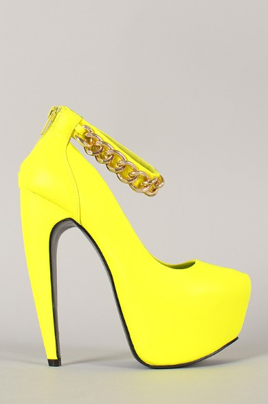 Privileged Bucka Neon Chained Ankle Strap Platform Pump