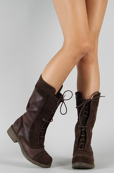 Qupid Raggae-16 Lace Up Round Toe Mid Calf Boot