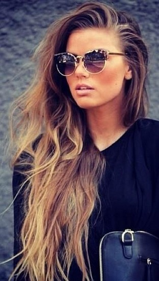 Really Long Ombre Curly Wavy Hairstyle