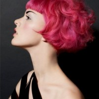 Red Colored Bob Hairstyle with Blunt Bangs