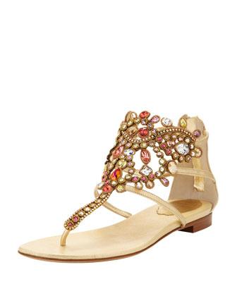 Rene Caovilla Chandalier Bejeweled Ankle Flat Sandal