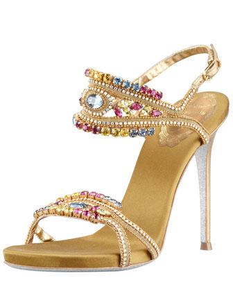 Rene Caovilla Crystal-Embellished Ankle-Band Sandal
