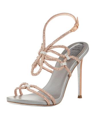 Rene Caovilla Crystal High-Heel Ankle-Wrap Sandal, Rose Gold Silver