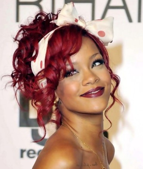 Rihanna Hairstyles: Burgandy Pinned Up Ringlets for Holidays