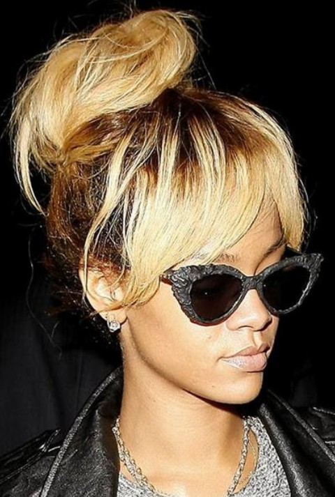 Rihanna Hairstyles rihanna short straight alternative side on view Rihanna Hairstyles Classy Loose Bun