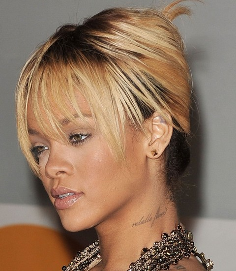 Rihanna Hairstyles: Gorgeous French Twist with Wispy Bangs