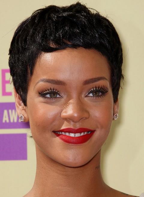 Rihanna Hairstyles: Modern Boy Cut for Oval Face