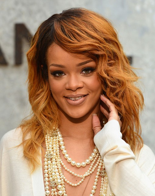 Rihanna Long Hairstyles 2014: Layered Curly Hair