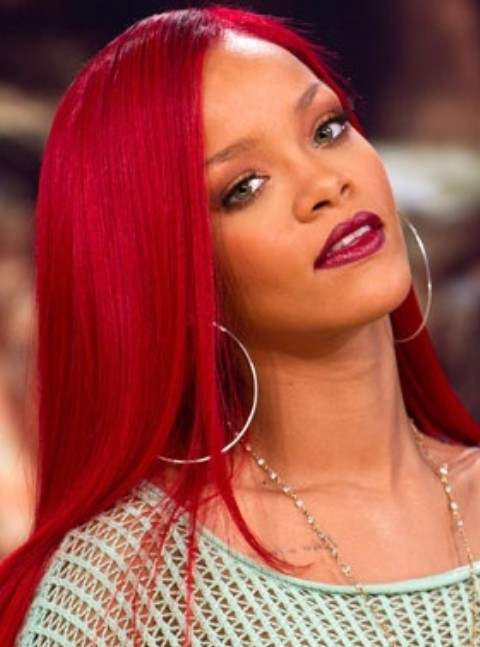 Rihanna Long Hairstyles: Stylish Scarlet Side-swept Haircut
