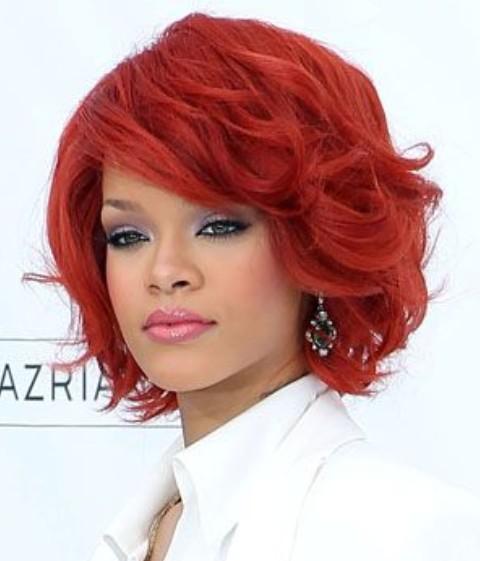 Rihanna Short Hairstyles: Scarlet Wavy Haircut