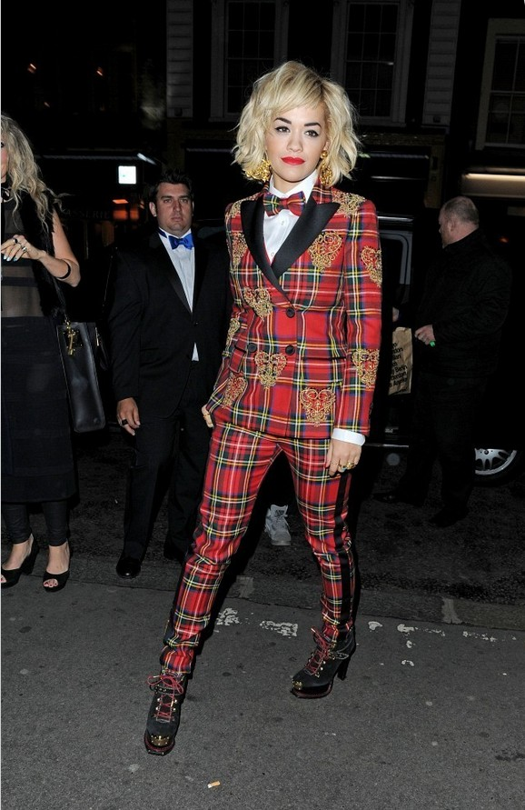 Rita Ora Red Plaid Moschino Pantsuit