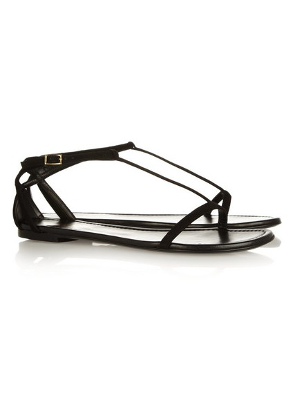 SAINT LAURENT Janis suede and metallic leather sandals