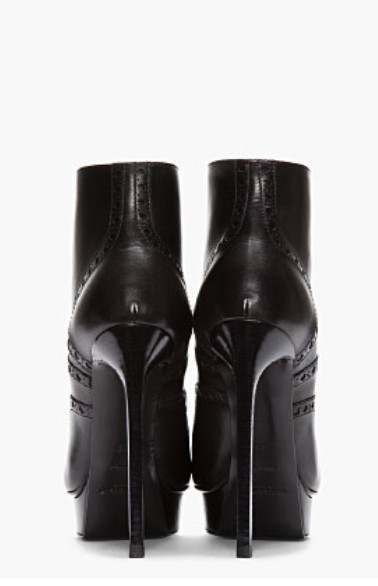 Saint Laurent Black leather brogued Oxford Janis Boots Back View
