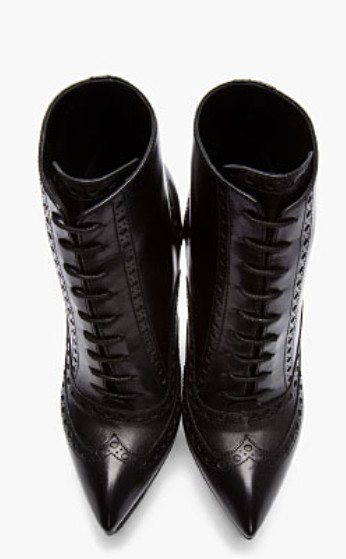 Saint Laurent Black leather brogued Oxford Janis Boots Front View