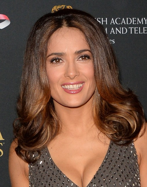 Salma Hayek Medium Length Hairstyles 2014: Curly Hair